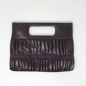 Express brown faux leather clutch purse